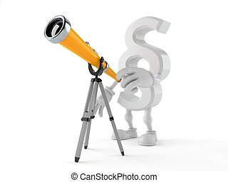 Paragraph symbol character looking through a telescope