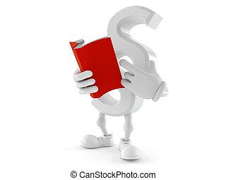 Paragraph symbol character reading a book