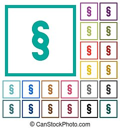 Paragraph symbol flat color icons with quadrant frames