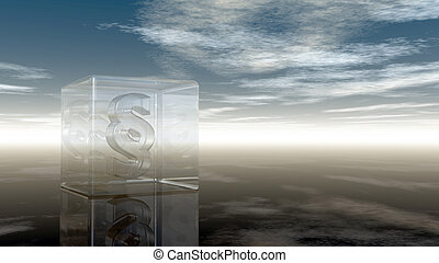 paragraph symbol in glass cube under cloudy sky - 3d rendering