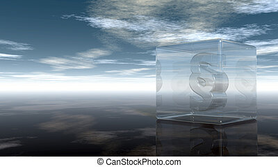paragraph symbol in glass cube under cloudy sky - 3d ...