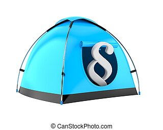 Paragraph symbol inside tent