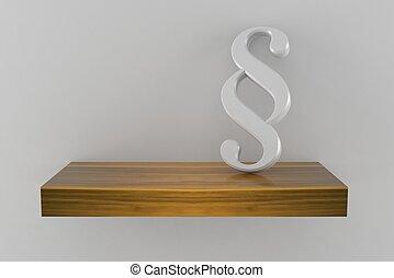 Paragraph symbol on wooden shelf