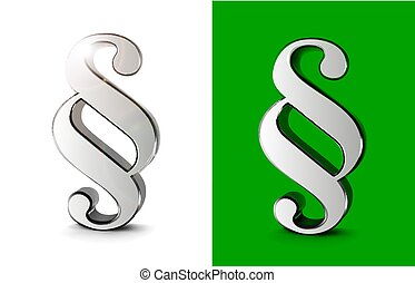 Paragraph symbols 3d vector illustration on white and green background