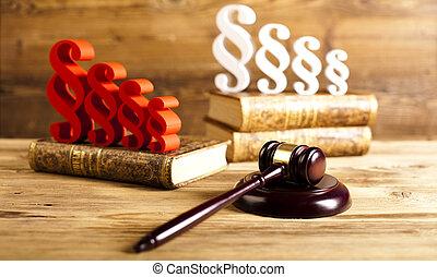 paragraphe, droit & loi, thème, maillet, de, juge, gavel...