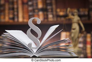 paragraphe, et, livres loi, justice, concept, salle audience