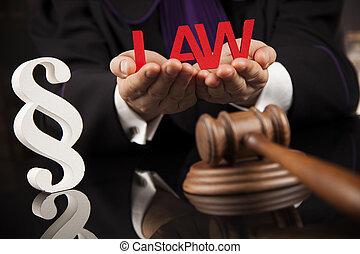 paragraphe, juge, prise, marteau, sur, table bois