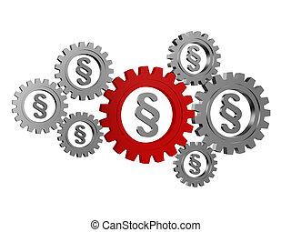 paragraphe, signes, dans, argent, gearwheels