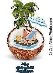 paraguas, acation, coconut., concept., árbol, palma, vector., maleta