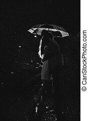 paraguas, amor, pareja, lluvia, /, debajo, silueta, besar