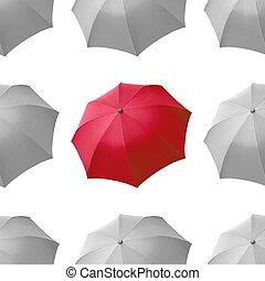 paraguas blanco, rojo