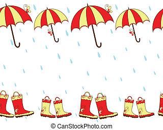 paraguas, botas de lluvia, seamless