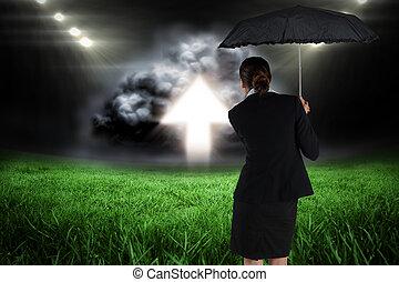paraguas, compuesto, mujer de negocios, imagen, joven,...