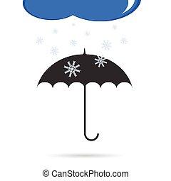 paraguas, con, color de nieve, vector, ilustración