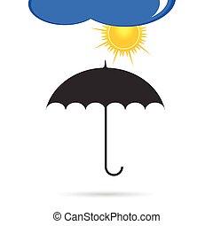 paraguas, con, color del sol, vector, ilustración