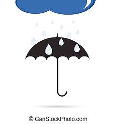 paraguas, con, lluvia, color, vector, ilustración