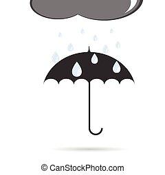 paraguas, con, lluvia, vector, ilustración