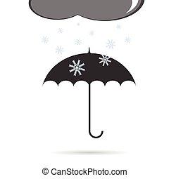 paraguas, con, nieve, vector, ilustración