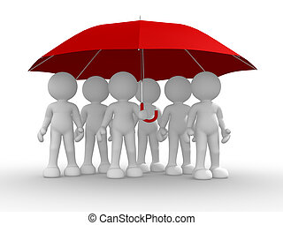 paraguas, debajo, grupo, gente
