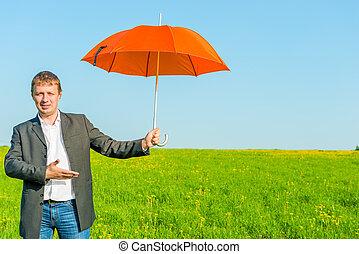 paraguas, empresa / negocio, sol, campo, ofertas, hombre