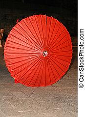 paraguas, japonés, rojo
