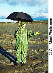 paraguas, máscara, gas, lluvia, esperar, ácido, hombre