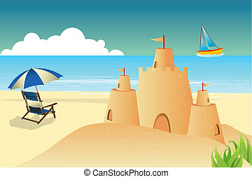 paraguas, mar, plano de fondo, silla, playa, fortaleza