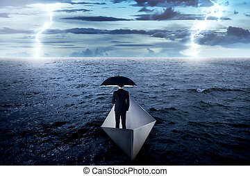paraguas, navegación, empresa / negocio, papel, asiático, tenencia, mar, solamente, barco, hombre
