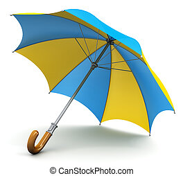 paraguas, parasol, o, amarillo, azul