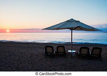 paraguas, playa, sombrilla, mar