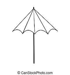 paraguas, protección, estilo, icono, verano, viaje, vacaciones, línea
