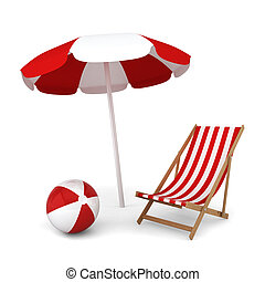 paraguas, silla, pelota, playa