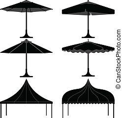 paraguas, tienda, gazebo, dosel, campo