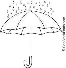 paraguas, y, lluvia, contornos