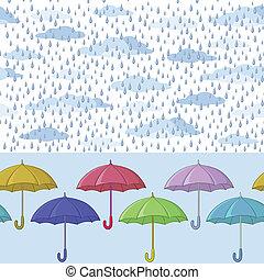paraguas, y, lluvia, seamless, plano de fondo
