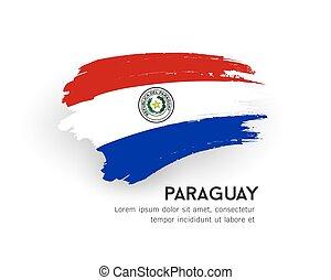 paraguay, brosse, isolé, vecteur, conception, coup, drapeau