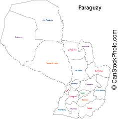 paraguay, carte, contour