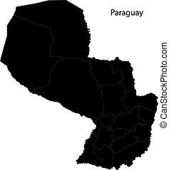 paraguay, carte, noir