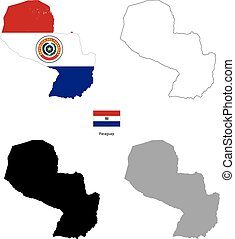 Paraguay country black silhouette and with flag on background
