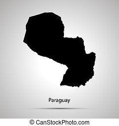 Paraguay country map, simple black silhouette on gray