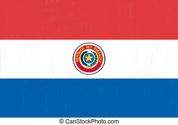 Paraguay flag drawing by pastel on charcoal paper