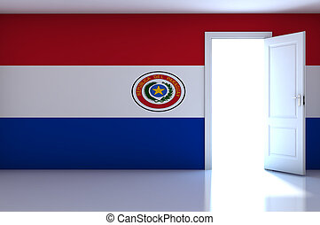 Paraguay flag on empty room