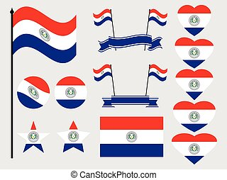 Paraguay flag set. Collection of symbols, flag in heart. Vector illustration