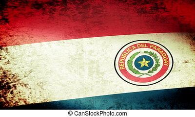 Paraguay Flag Waving, grunge look