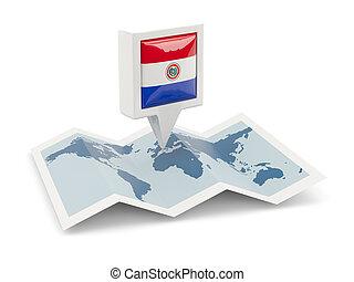 paraguay, kaart, vlag, plein, spelden