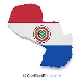 Paraguay Map 3d Shape
