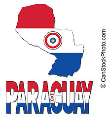 Paraguay map flag and text