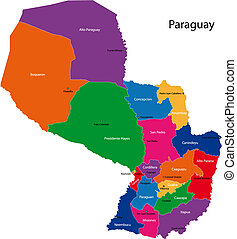 Paraguay map - Map of the Republic of Paraguay with the ...