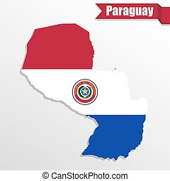 Paraguay map with flag inside and ribbon
