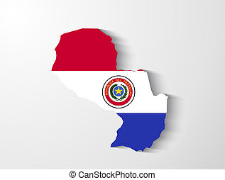 Paraguay map with shadow effect presentation
